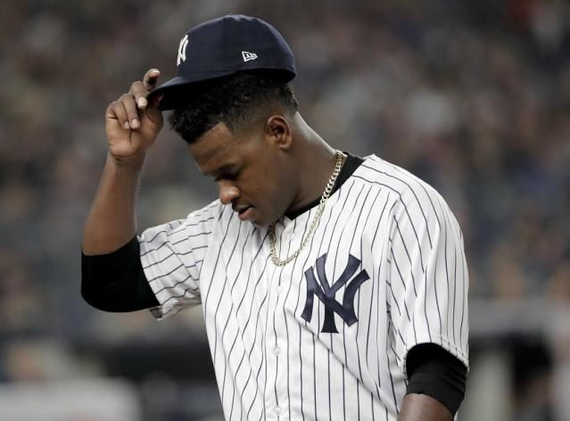 Luis Severino lasted just three-plus innings and allows six runs in disappointing ALDS Game 3 start for Yankees. (AP)