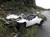 A Lamborghini after a crash caused by aquaplaning on the M66 near Ramsbottom, Greater Manchester (Picture: PA)
