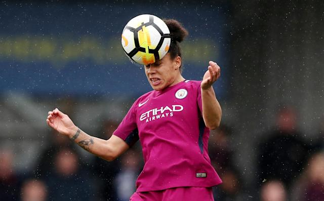 Soccer Football - Women's FA Cup Semi Final - Chelsea vs Manchester City - The Cherry Red Records Stadium, London, Britain - April 15, 2018 Manchester City's Demi Stokes in action Action Images/Peter Cziborra