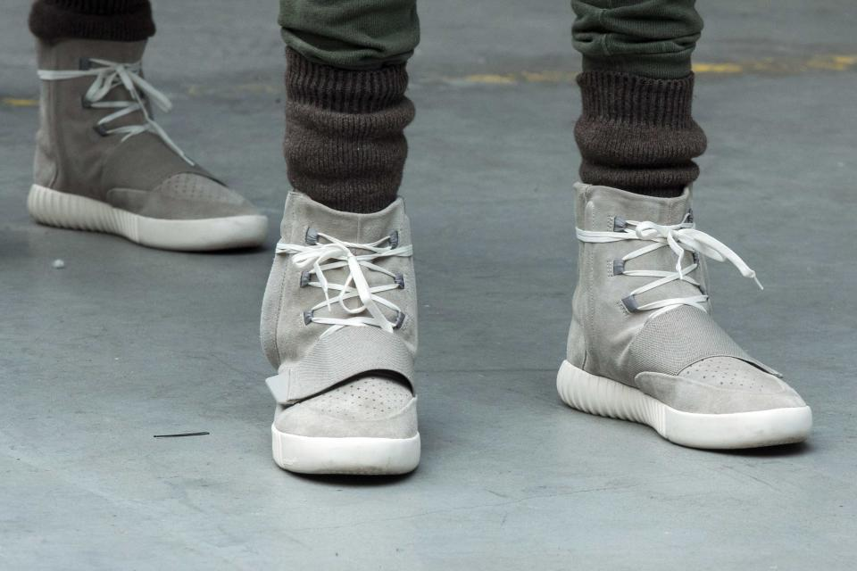 Kanye West's Yeezy Boost 750 shoes at an Adidas fashion show in New York. (Reuters)