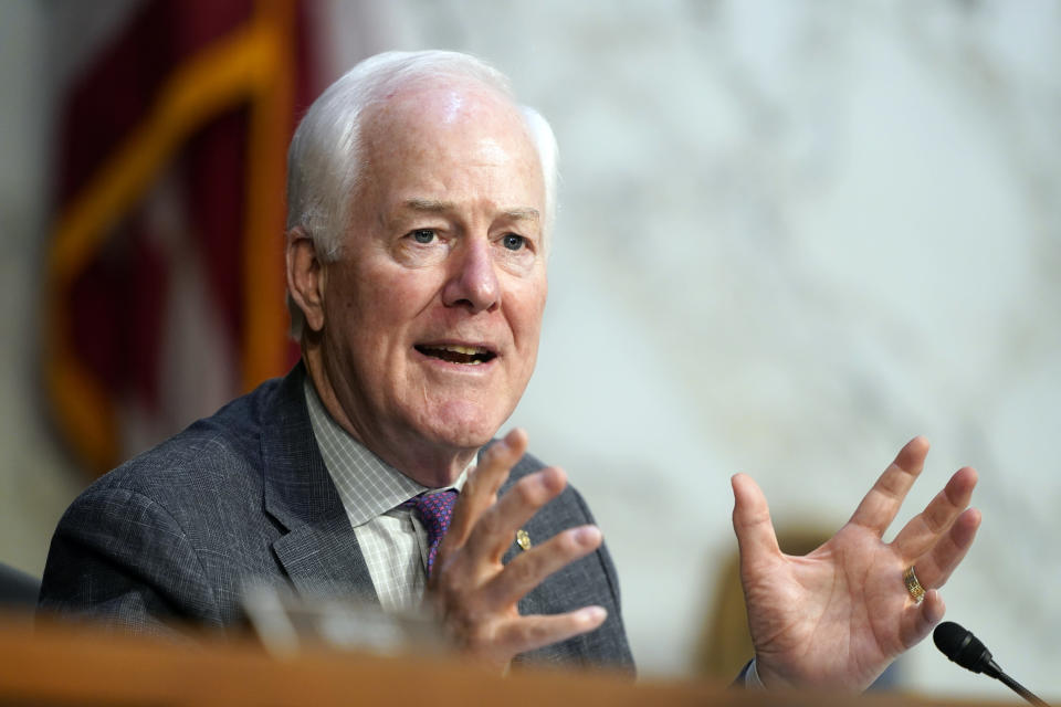 Sen. John Cornyn, R-Texas, speaks during the confirmation hearing for Supreme Court nominee Amy Coney Barrett, before the Senate Judiciary Committee, Wednesday, Oct. 14, 2020, on Capitol Hill in Washington. (AP Photo/Susan Walsh, Pool)