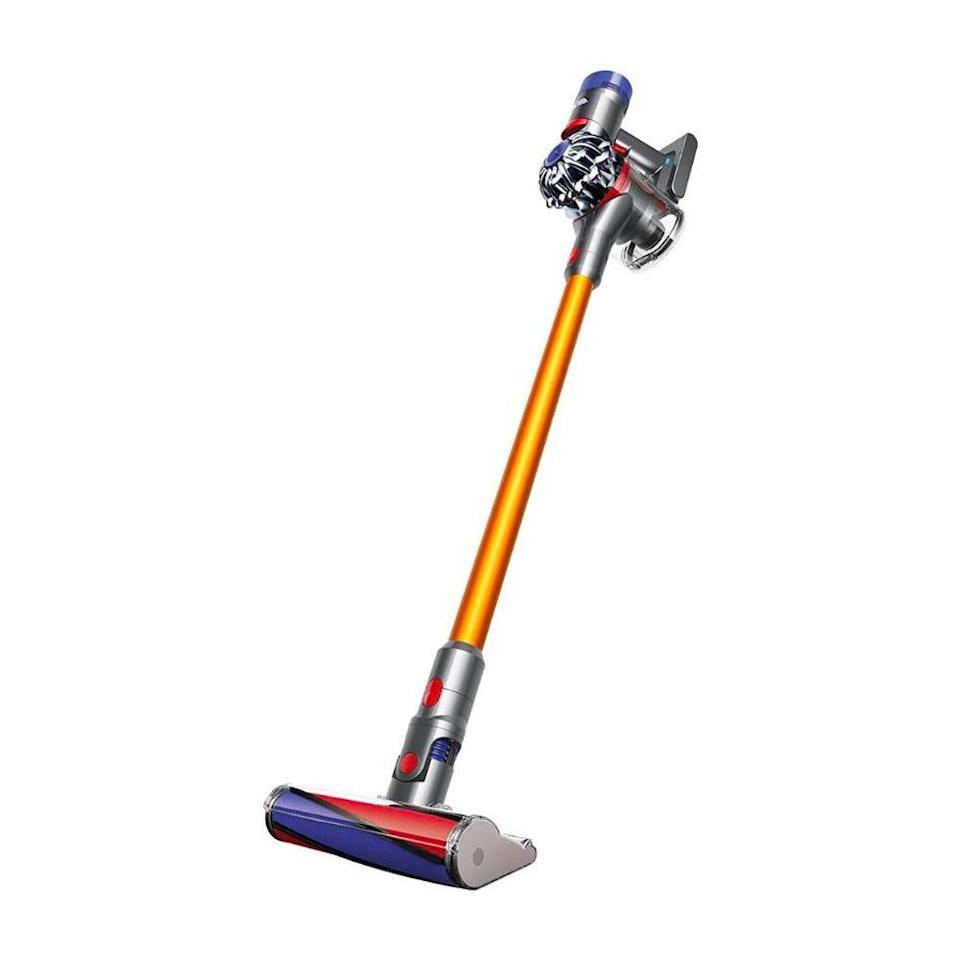 """<p><strong>Dyson</strong></p><p>Dyson</p><p><a href=""""https://go.redirectingat.com?id=74968X1596630&url=https%3A%2F%2Fwww.dyson.com%2Fvacuum-cleaners%2Fsticks%2Fdyson-v8-stick%2Fdyson-v8-absolute-yellow&sref=https%3A%2F%2Fwww.bestproducts.com%2Flifestyle%2Fg37357856%2Flabor-day-sales-2021%2F"""" rel=""""nofollow noopener"""" target=""""_blank"""" data-ylk=""""slk:Shop Now"""" class=""""link rapid-noclick-resp"""">Shop Now</a></p><p><del>$449.99<strong><br></strong></del><strong>$379.99 ($70 off)</strong></p><p>This Dyson vacuum has more than a thousand five-star reviews, and for Labor Day, it's $70 off. It comes with six attachments for reaching every nook and cranny, including a soft cleaner head for delicate hardwood floors. There's also a space-saving wall mount, so you can hang the unit to charge. </p>"""
