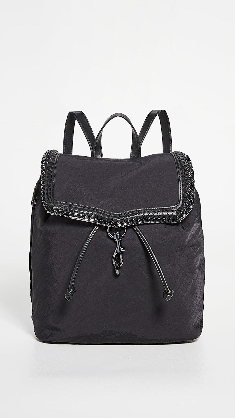 <p>We love the embellished look of this <span>Rebecca Minkoff Woven Chain Backpack</span> ($228).</p>