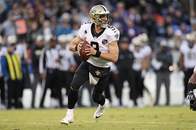New Orleans Saints Drew Brees joined an elite group of quarterbacks by throwing for his 500th passing touchdown against the Baltimore Ravens (AFP Photo/Patrick Smith)