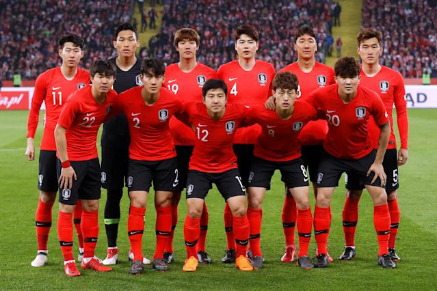 Soccer Football - International Friendly - Poland vs South Korea - Silesian Stadium, Chorzow, Poland - March 27, 2018 South Korea team group before the match REUTERS/Kacper Pempel