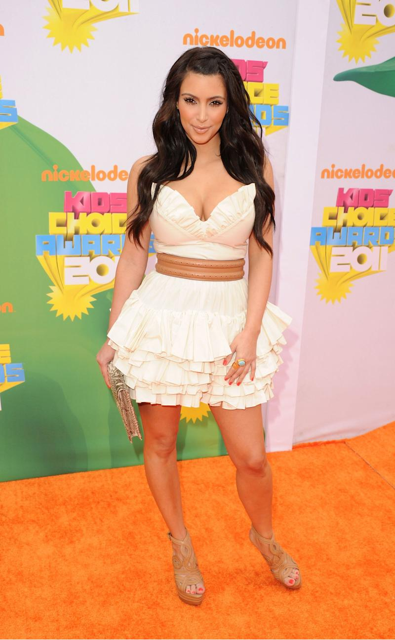 LOS ANGELES, CA - APRIL 02: TV personality Kim Kardashian arrives at Nickelodeon's 24th Annual Kids' Choice Awards at Galen Center on April 2, 2011 in Los Angeles, California. (Photo by Jason Merritt/Getty Images)