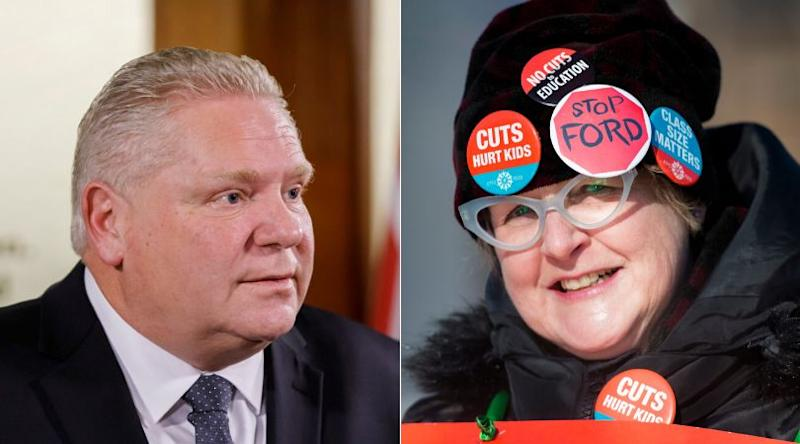 There are nearly twice as many Ontarians supporting the teachers' unions than there are supporting Premier Doug Ford's government in their dispute, a new poll finds. (Photo: HuffPost Composite/Canadian Press Images)