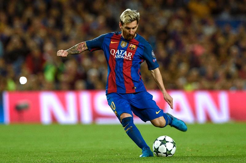 Barcelona's Argentinian forward Lionel Messi kicks the ball during the UEFA Champions League football match FC Barcelona vs Manchester City at the Camp Nou stadium in Barcelona on October 19, 2016