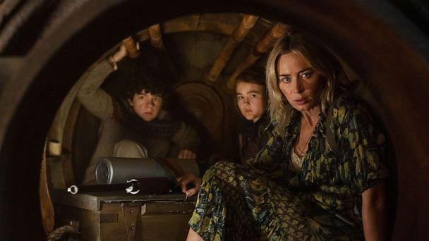 PHOTO: Noah Jupe as Marcus, Millicent Simmonds as Regan, and Emily Blunt as Evelyn in a scene from 'A Quiet Place Part II.' (Paramount Pictures)