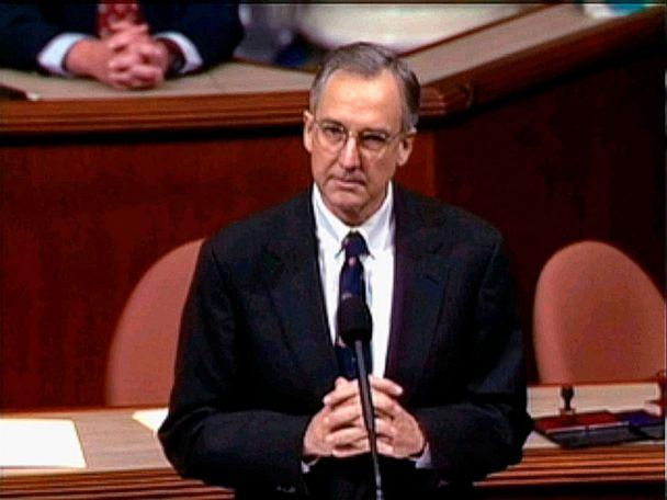 PHOTO: Then-House Speaker nominee Rep. Bob Livingston, R-La., speaks during the House session on the four articles of impeachment against former President Bill Clinton in Washington, D.C., Dec. 19, 1998. (AP, FILE)