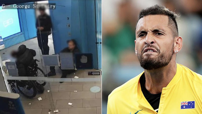Nick Kyrgios (pictured right) was one athlete to slam two individuals (pictured left) for allegedly robbing a wheelchair bound man at a bank. (Images: NSW Police/Getty Images)