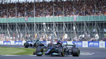 Mercedes driver Lewis Hamilton of Britain steers his car during the first free practice session ahead of Sunday's British Formula One Grand Prix, at the Silverstone circuit, in Silverstone, England, Friday, July 16, 2021. (AP Photo/Jon Super)