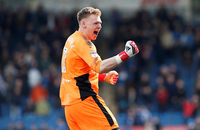 "Soccer Football - League Two - Chesterfield vs Notts County - Proact Stadium, Chesterfield, Britain - March 25, 2018 Chesterfield's Aaron Ramsdale celebrates after they are awarded a penalty Action Images/Craig Brough EDITORIAL USE ONLY. No use with unauthorized audio, video, data, fixture lists, club/league logos or ""live"" services. Online in-match use limited to 75 images, no video emulation. No use in betting, games or single club/league/player publications. Please contact your account representative for further details."