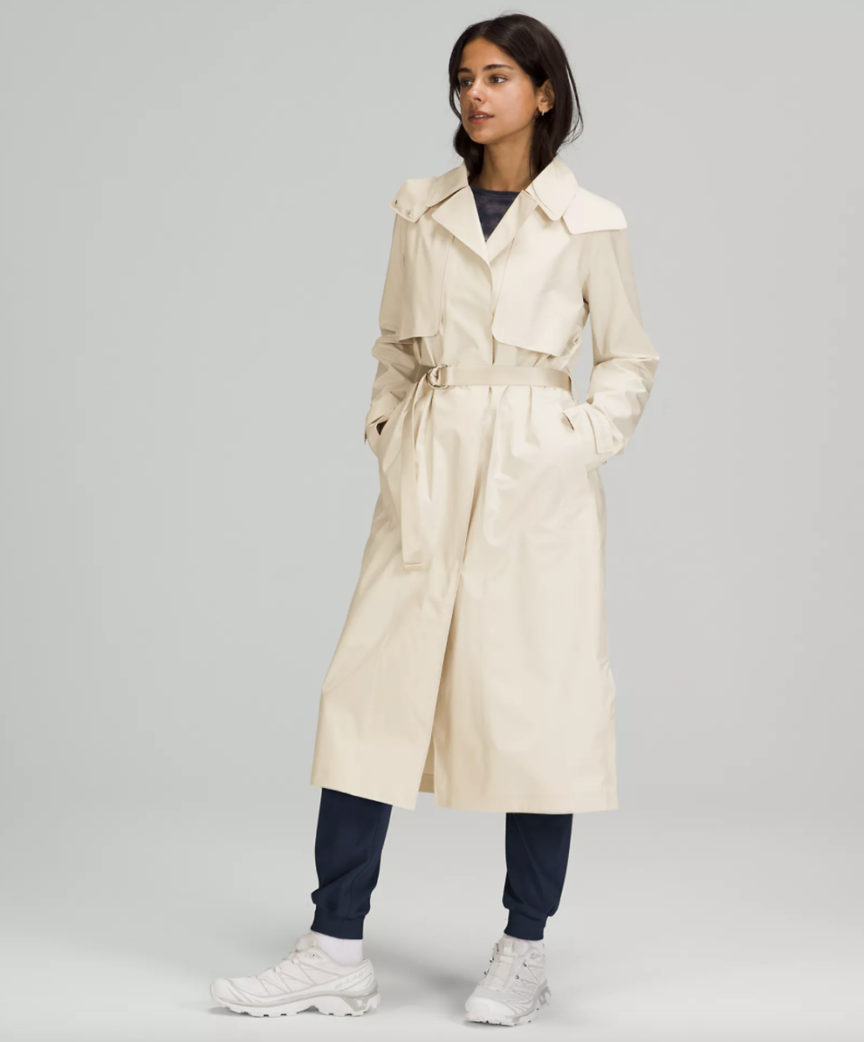 light beige Always There Trench Coat with white sneakers