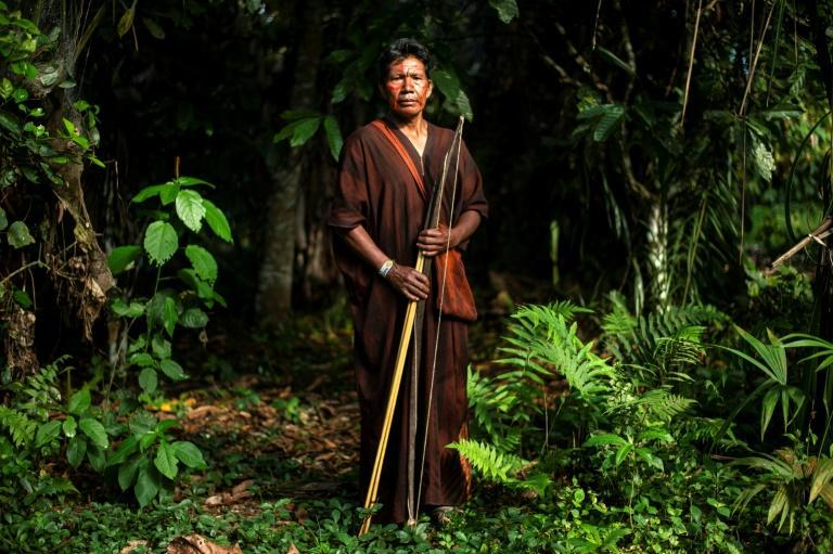 Leader of the Pitirinquini Ashaninka community Abel Casiano was kidnapped in 1986 at the age of 16 by Shining Path guerillas in Peru before escaping two years later (AFP/ERNESTO BENAVIDES)