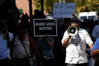 People march downtown after the not guilty verdict in the murder trial of Jason Stockley, a former St. Louis police officer, charged with the 2011 shooting of Anthony Lamar Smith, who was black, in St. Louis, Missouri, U.S., September 15, 2017. REUTERS/Whitney Curtis