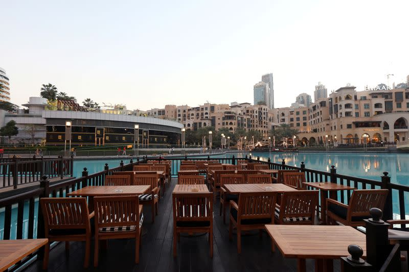 FILE PHOTO: Empty restaurant is pictured outside Dubai Mall