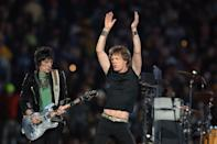 Keith Richards and Ron Wood, left, of the Rolling Stones perform at halftime of Super Bowl XL on Sunday, February 5, 2006, in Detroit, Michigan. (Photo by Lionel Hahn/Abaca Press/Tribune News Service via Getty Images)