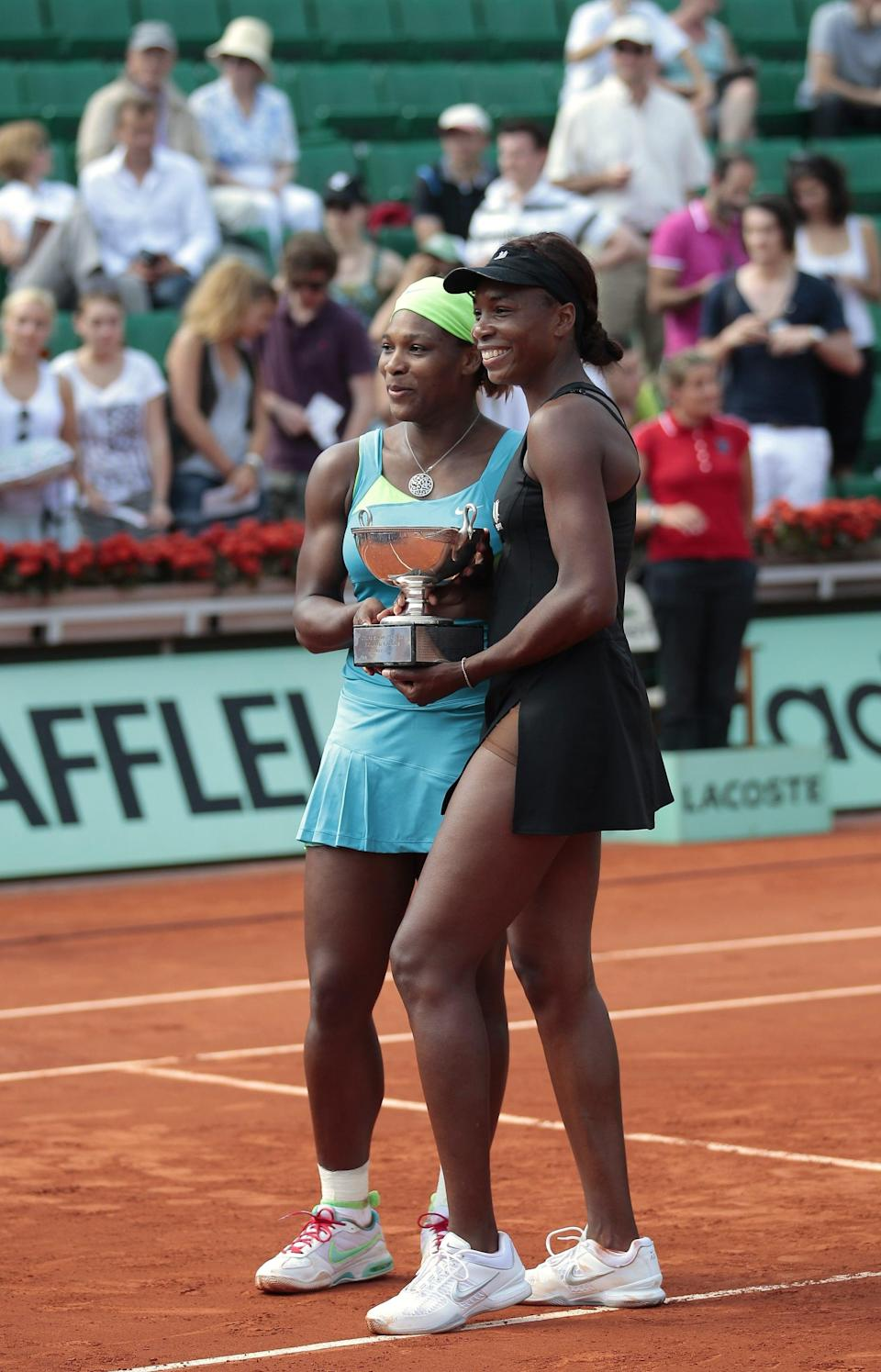 <p>At the 2010 French Open, sisters Venus and Serena Williams took the winners' cup when they defeated Czech Kveta Peschke and Katarina Srebotnik of Slovenia. They coordinated in tennis dresses, Serena in sky blue Nike and Venus in her own line, EleVen, which came complete with a matching visor.</p>
