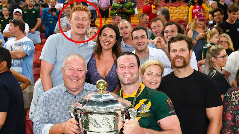 Boyd Cordner is seen here celebrating a triumph with Australia with family members including Joel Dark (circled).
