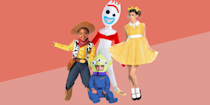 """<p><strong>Halloween Costumes</strong></p><p>halloweencostumes.com</p><p><strong>$79.99</strong></p><p><a href=""""https://go.redirectingat.com?id=74968X1596630&url=https%3A%2F%2Fwww.halloweencostumes.com%2Ftoy-story-costume.html%3Fq%3Dtoy%2Bstory%2Bcostumes&sref=https%3A%2F%2Fwww.goodhousekeeping.com%2Fholidays%2Fhalloween-ideas%2Fg28106766%2Ffamily-halloween-costumes%2F"""" rel=""""nofollow noopener"""" target=""""_blank"""" data-ylk=""""slk:Shop Now"""" class=""""link rapid-noclick-resp"""">Shop Now</a></p><p>For extra-large clans, there are so many Toy Story characters to choose from. Toy Story 4 added a bunch of great new ones, including Forky, Gabby Gabby and Ducky and Bunny. Everyone can pick their fave.</p><p><strong>RELATED:</strong> <a href=""""https://www.goodhousekeeping.com/holidays/halloween-ideas/g28380986/best-toy-story-halloween-costumes/"""" rel=""""nofollow noopener"""" target=""""_blank"""" data-ylk=""""slk:The Best 'Toy Story' Costumes for the Whole Family"""" class=""""link rapid-noclick-resp"""">The Best 'Toy Story' Costumes for the Whole Family</a></p>"""