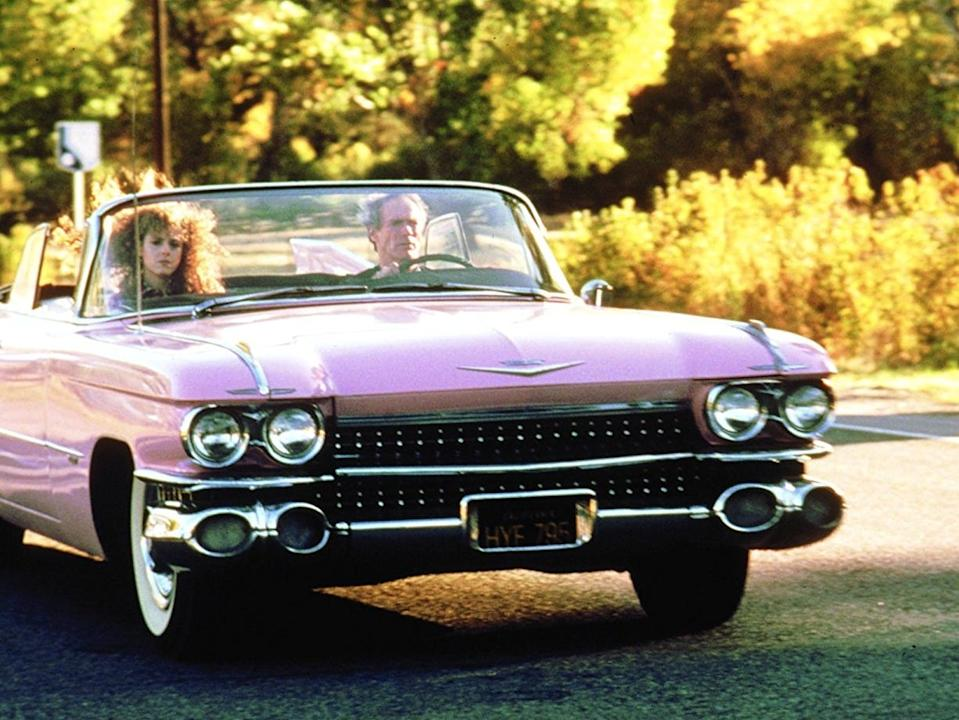 "Bernadette Peters and Clint Eastwood in ""Pink Cadillac."""