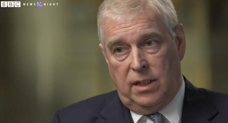 Prince Andrew during his BBC News Night interview. He address his links with Jeffrey Epstein.