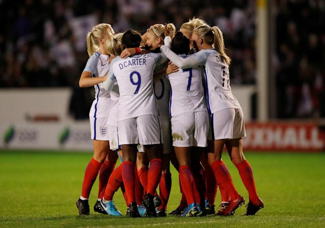 Soccer Football - Women's World Cup Qualifier - England vs Bosnia & Herzegovina - The Banks's Stadium, Walsall, Britain - November 24, 2017 England's Steph Houghton celebrates with team mates after scoring their first goal Action Images via Reuters/Andrew Boyers