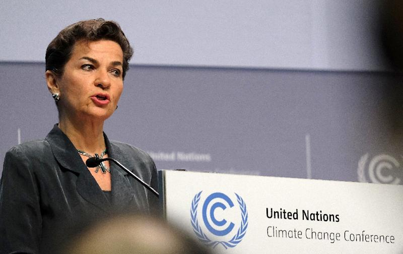 Christiana Figueres, Executive Secretary of the United Nations Framework Convention on Climate Change (UNFCCC) speaks during the opening ceremony of the Bonn Climate Change Conference in Bonn, western Germany, on May 16, 2016 (AFP Photo/Patrik Stollarz)