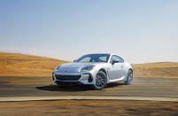 This photo provided by Subaru shows the 2022 BRZ. This redesigned sport coupe has a more powerful engine and new technology features. (Subaru of America via AP)