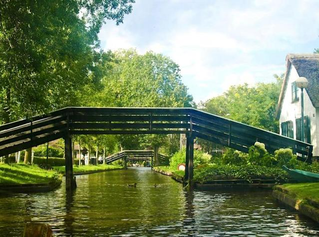 <p>If you get bored, you can always head to the nearby town of Giethoorn, which has been nicknamed the Dutch Venice because of its bridges, waterways and local boats called punters. (Airbnb) </p>