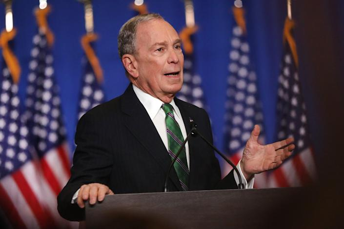 Former New York mayor Michael Bloomberg donated the most of all- $1.4billion- including $1billion of his own money into his failed presidential bid. Pictured in March 2020 after announcing the end of his campaign.Getty Images