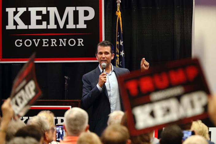 Donald Trump Jr., speaks during a campaign event of Republican nominee for Georgia Gov. Brian Kemp Tuesday, Oct. 9, 2018, in Athens, Ga.