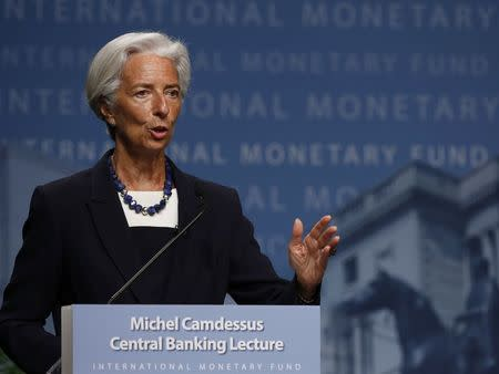 IMF Managing Director Christine Lagarde delivers opening remarks at the inaugural Michel Camdessus Central Banking Lecture in Washington