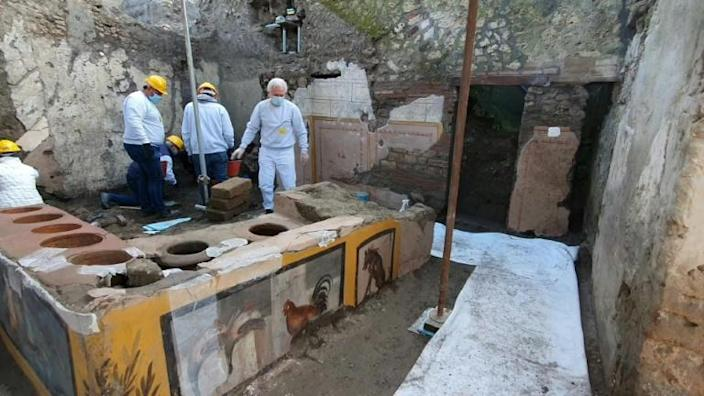 Researchers discovered the thermopolium -- the ancestor of street fast-food in ancient Rome -- in Pompeii, decorated with polychrome patterns and in an exceptional state of preservation