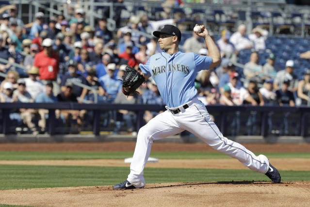 Seattle Mariners' Marco Gonzales throws during the first inning of a spring training baseball game against the Chicago Cubs, Monday, Feb. 24, 2020, in Peoria, Ariz. (AP Photo/Darron Cummings)