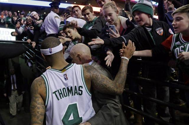 "<a class=""link rapid-noclick-resp"" href=""/nba/players/4942/"" data-ylk=""slk:Isaiah Thomas"">Isaiah Thomas</a> gave fans many reasons to cheer on Friday. (AP Photo/ Elise Amendola)"