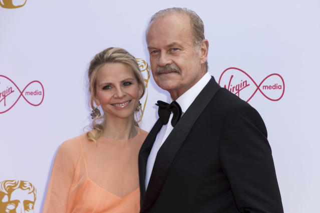 Actor Kelsey Grammer, and partner actress Kayte Walsh pose for photographers on arrival at the 2019 BAFTA Television Awards in London, Sunday, May 12, 2019.(Photo by Grant Pollard/Invision/AP)