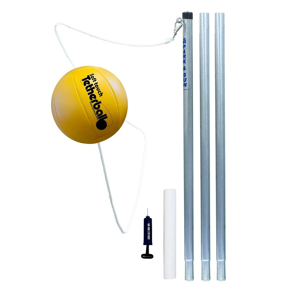 "<h3><a href=""https://www.walmart.com/ip/Park-Sun-Sports-Outdoor-Yellow-3-Pole-Tetherball-Play-Set-with-Accessories/10911107"" rel=""nofollow noopener"" target=""_blank"" data-ylk=""slk:Park and Sun Sports Outdoor Yellow 3-Pole Tetherball"" class=""link rapid-noclick-resp"">Park and Sun Sports Outdoor Yellow 3-Pole Tetherball</a></h3> <br>For a backyard-friendly blast from the past, play the day away with a good ol' tetherball set — complete with all the fixings for easy-to-assemble fun. <br><br><strong>Park and Sun Sports</strong> Outdoor Yellow 3-Pole Tetherball, $, available at <a href=""https://go.skimresources.com/?id=30283X879131&url=https%3A%2F%2Fwww.walmart.com%2Fip%2FPark-Sun-Sports-Outdoor-Yellow-3-Pole-Tetherball-Play-Set-with-Accessories%2F10911107"" rel=""nofollow noopener"" target=""_blank"" data-ylk=""slk:Walmart"" class=""link rapid-noclick-resp"">Walmart</a><br>"