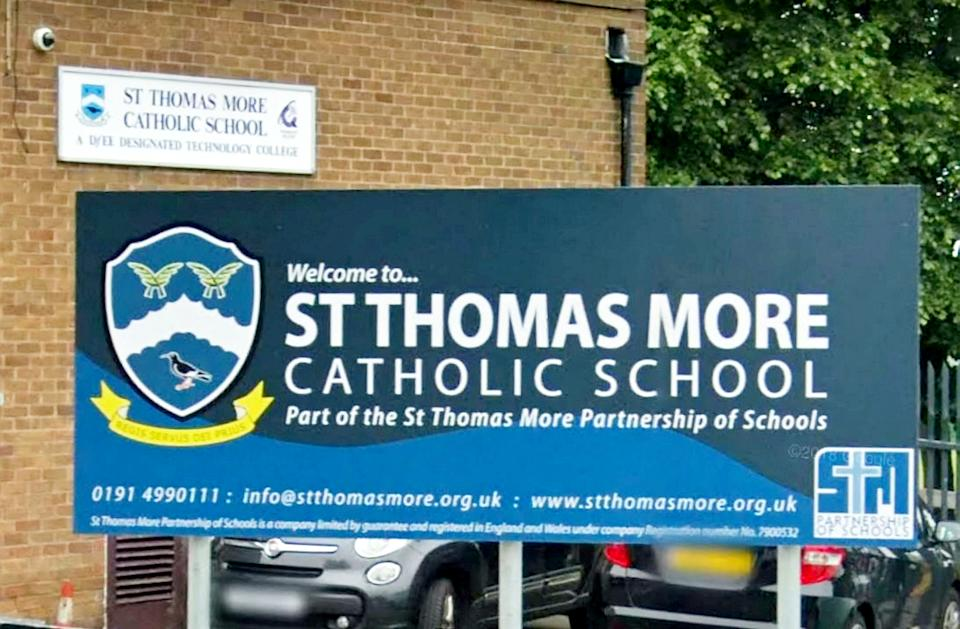 Google street view of St Thomas More Catholic School in Blaydon.  Police were called to a Gateshead school after it was targeted by a group of anti-vaxxers protesting against children receiving the coronavirus jab.  See SWNS story SWMDschool.  A small group of demonstrators gathered outside St Thomas More Catholic School in Blaydon on Monday morning as the school hosted Covid-19 and flu vaccinations for pupils.  It is reported that campaigners with megaphones and leaflets approached students as they walked into school with some of them left feeling