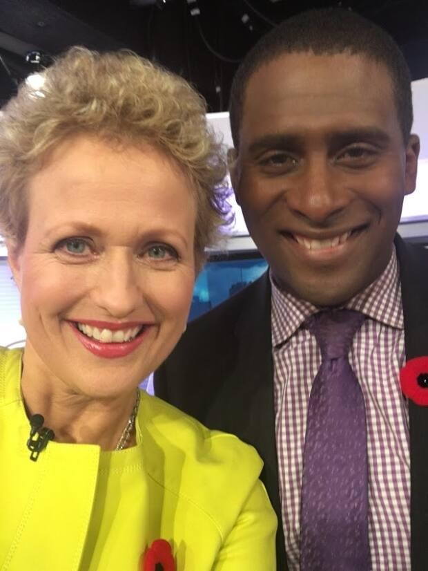 Van Oldenbarneveld snaps a selfie with co-host Adrian Harewood on Nov. 2, 2016, her first day back on air after undergoing cancer treatment.