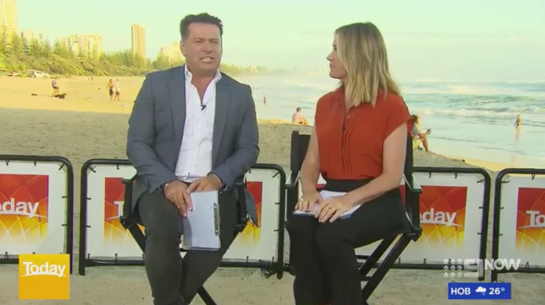 Karl Stefanovic and Leila McKinnon reporting live for Today on Burleigh Head beach in queensland