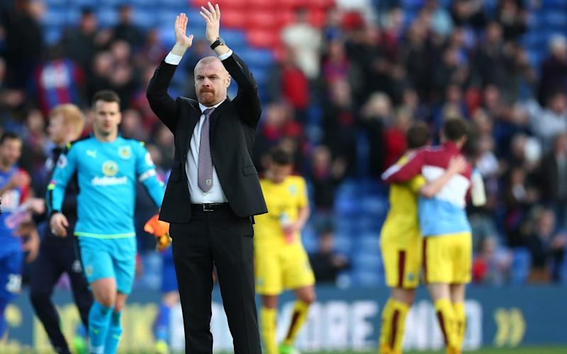 Sean Dyche applauds Burnley's travelling away support at Selhurst Park - Getty Images Europe