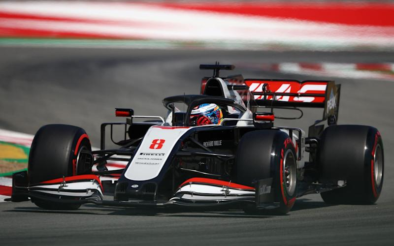 Haas F1's French driver Romain Grosjean takes part in the second practice session at the Circuit de Catalunya in Montmelo near Barcelona on August 14, 2020 ahead of the Spanish F1 Grand Prix - BRYN LENNON