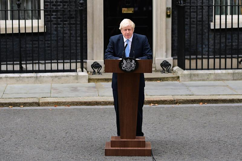 British Prime Minister Boris Johnson delivers a speech at 10 Downing Street on September 2, 2019 in London, England. Photo: Leon Neal/Getty Images