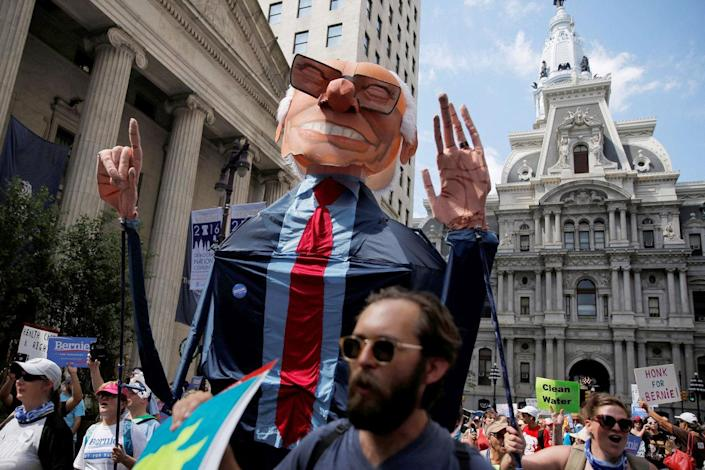<p>A giant puppet of Bernie Sanders is carried as protesters march against presumptive Democratic presidential nominee Hillary Clinton, ahead of the Democratic National Convention, in Philadelphia, Pennsylvania, U.S., July 24, 2016. (Dominick Reuter/Reuters)</p>