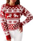 <p>This <span>Christmas Animal Print Sweater</span> ($33) would look good with black jeans and booties.</p>