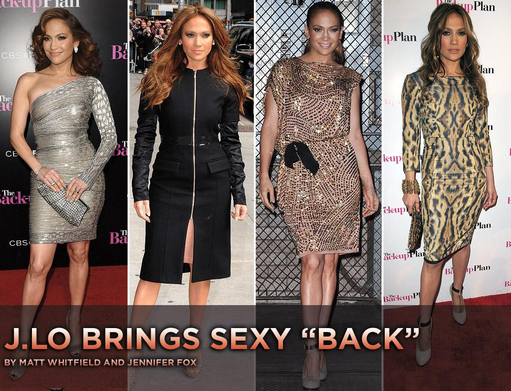 """<a href=""""http://movies.yahoo.com/movie/contributor/1800023864"""">Jennifer Lopez</a> is a multi-tasking machine. In addition to raising two toddlers, maintaining her marriage to <a href=""""http://movies.yahoo.com/movie/contributor/1800254749"""">Marc Anthony</a>, and resuscitating her music career, the Bronx-born diva has been busy promoting her new rom-com, """"<a href=""""http://movies.yahoo.com/movie/1810107558/info"""">The Back-Up Plan</a>."""" But just because J.Lo's always on the go doesn't mean her style has to suffer. Check out some of the stunning ensembles she's sported in recent weeks."""