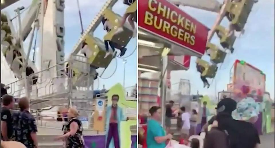 Terrifying footage captured the aftermath of the 30-metre fall at the Cairns Showfest. Source: 9News