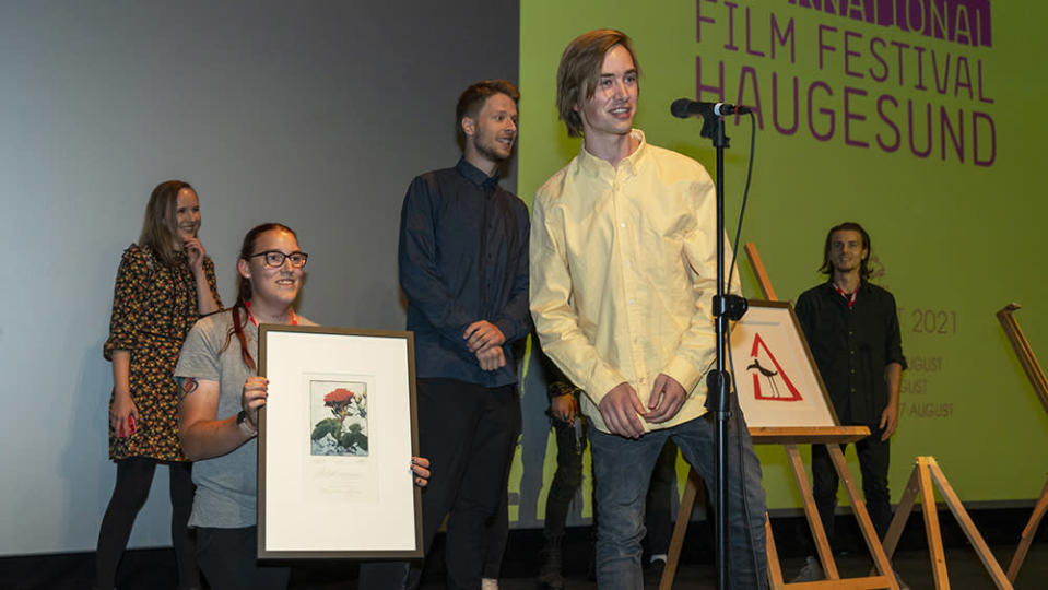 """Petter Aaberg receiving the Audience Award for """"Young and Afraid"""" - Credit: Credit: Grethe Nygaard"""